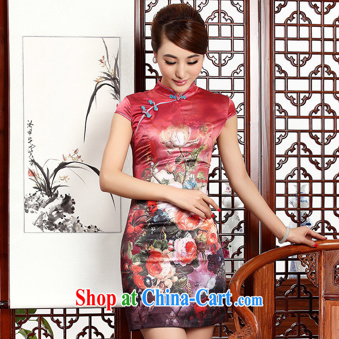 2014 New Silk short cheongsam Stylish retro style graphics thin package and improved daily outfit, short girl autumn picture natural XXL