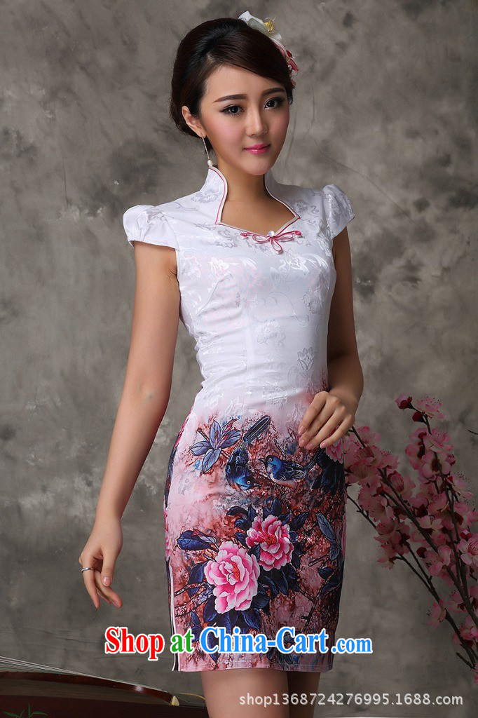 Long-term supply improved cheongsam stylish modern improved cheongsam dress a generation, improved cheongsam wholesale red XXL