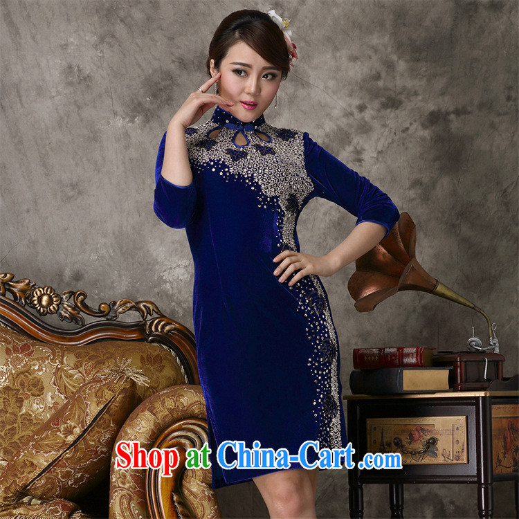As regards 2014 new gold velour outfit #813 staples concert Pearl dress daily banquet short video thin dress blue XXXXL