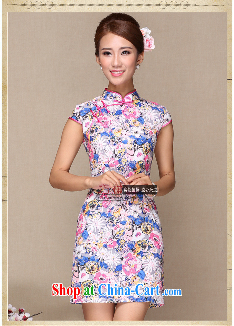 2014 new summer new female dresses retro beauty with good modern day Ms. cheongsam dress dresses picture color XL