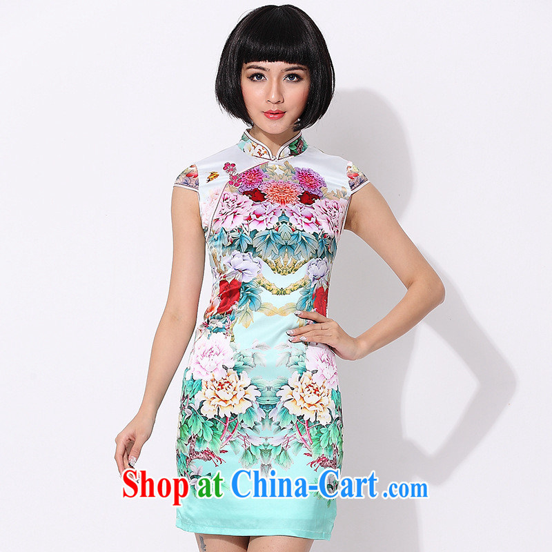 As regards 2014 new summer retro elegant qipao skirts 8001 upscale silk daily retro cheongsam dress green XXL