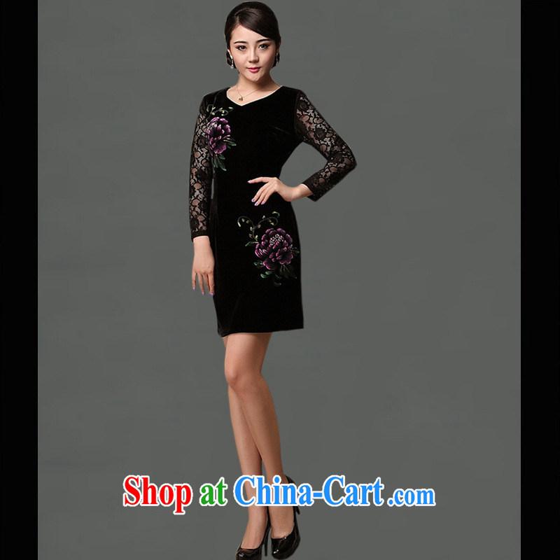 As regards a genuine hand-painted new dresses upscale daily outfit skirt cultivating short cheongsam dress Peony cheongsam purple XXXL