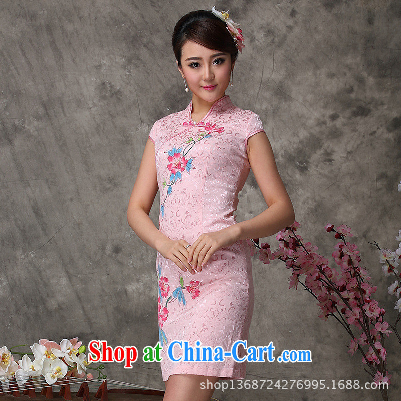 As regards 2014 new stylish and improved summer cheongsam dress _824 hand-painted cotton cheongsam qipao Ms. short-sleeved pink XXL