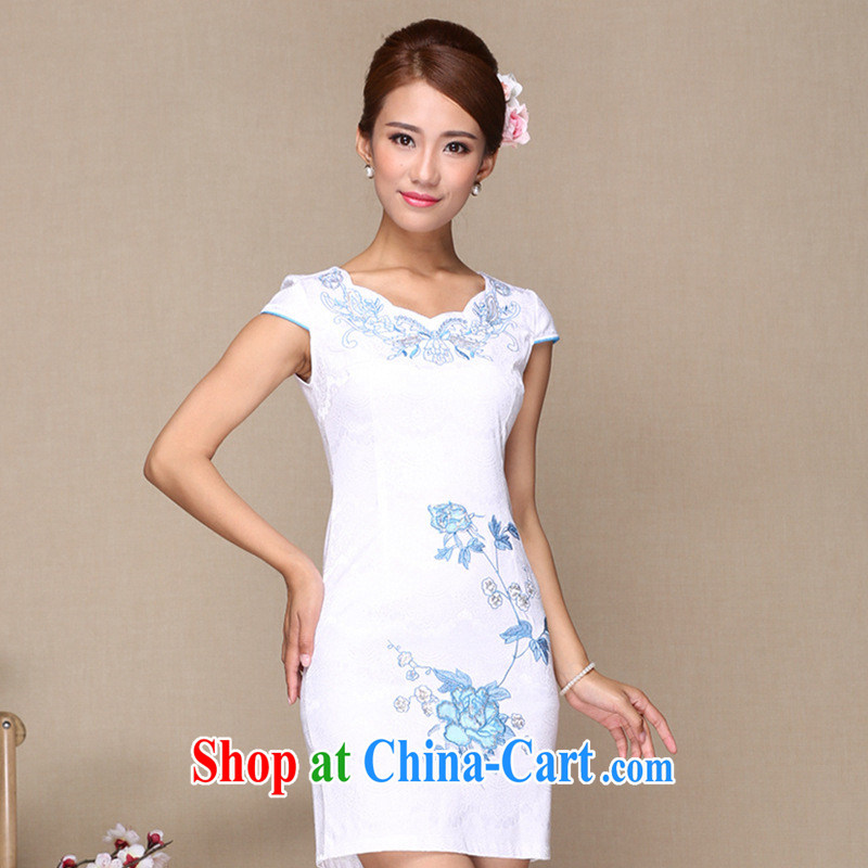 Manufacturers supply new and truly stylish improved cheongsam dress cheongsam dress daily improved fashion cheongsam dress white XL