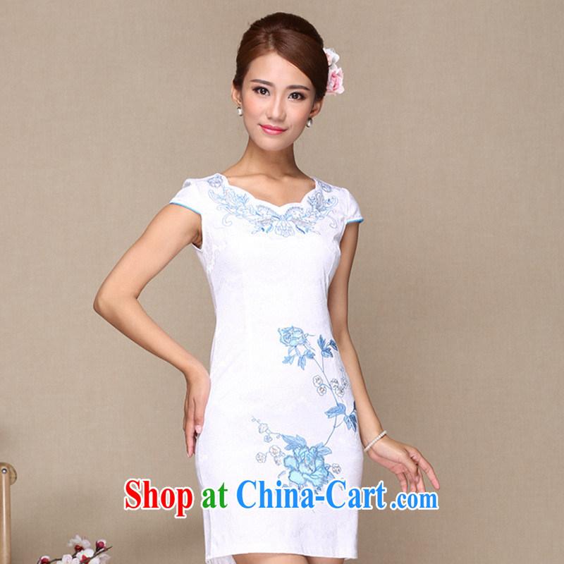 Manufacturers supply new and truly stylish improved cheongsam dress cheongsam dress daily improved fashion cheongsam dress white XL