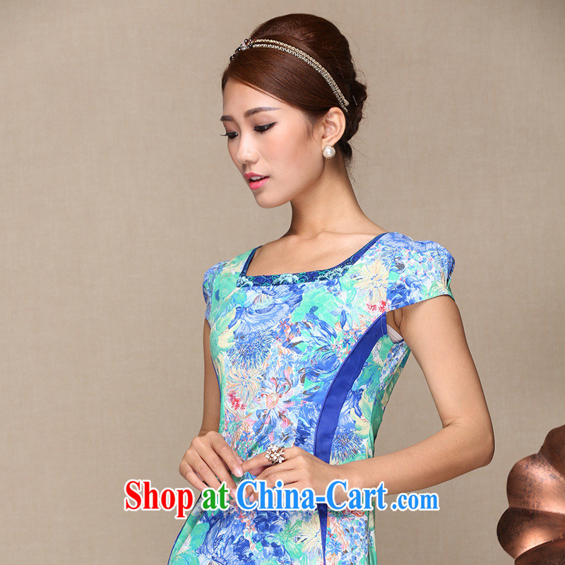 As regards new 2014 summer fashion improved the cheongsam dress daily improved cheongsam summer improved cheongsam dress picture color XL