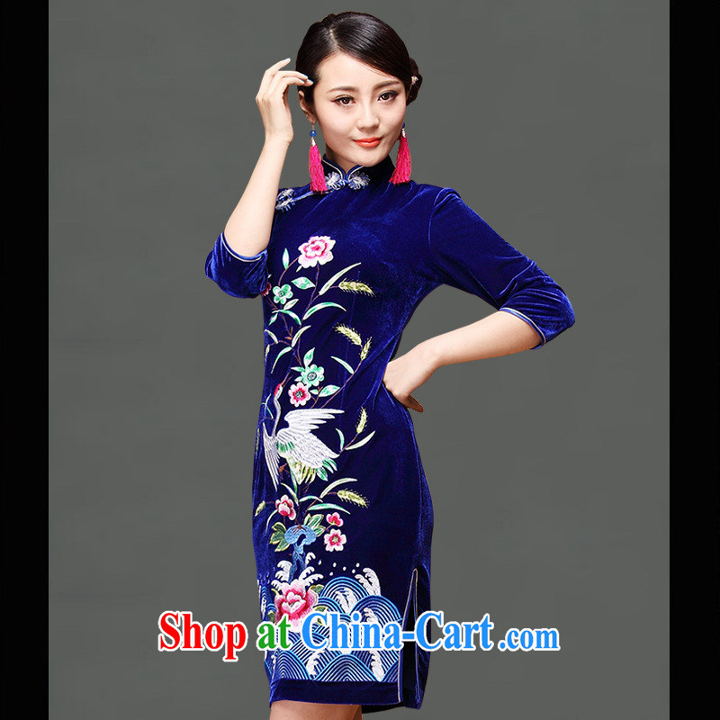 As regards genuine 2014 new embroidery short velvet cheongsam cheongsam stylish improved 8871 #qipao cheongsam blue XXXL