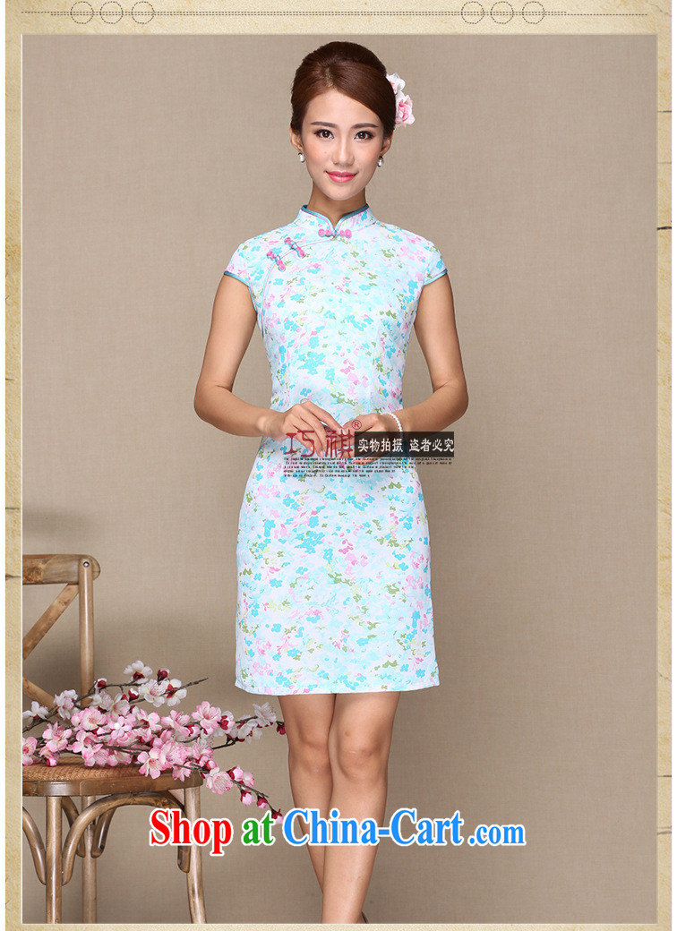 As regards new retro cheongsam dress floral cheongsam dress retro a tight cheongsam dress retro dresses blue XL