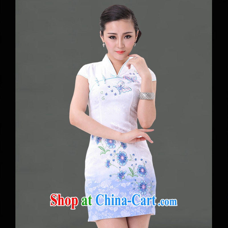 Recommended New No on the truck small cheongsam improved skirt stylish small cheongsam燿ress blue and white porcelain sleeveless dresses wholesale white XXL