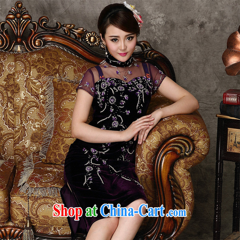 2014 modern improved cheongsam sexy beauty graphics thin cheongsam dress nails Pearl improved performance dresses cheongsam dress purple short XXXXL