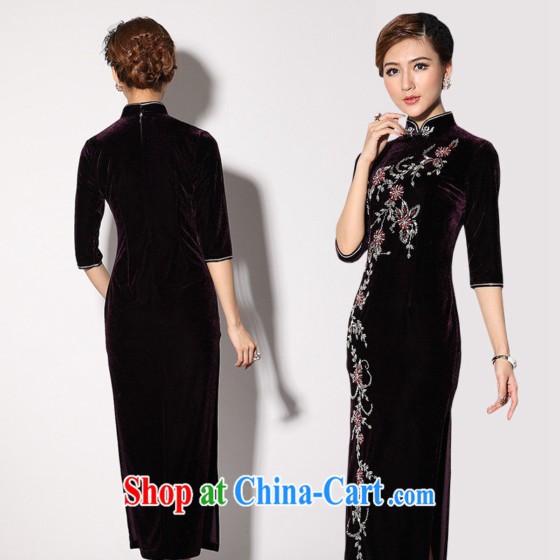 Long-term supply fall/winter new stylish staples high Pearl dresses as regards the wool long cheongsam manufacturer wholesale black XXXL