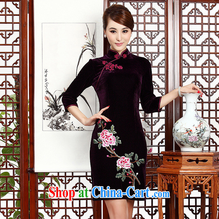 As regards new stylish embroidery short cheongsam daily retro upscale gold velour 233 _short sleeves in blue robes XXXL