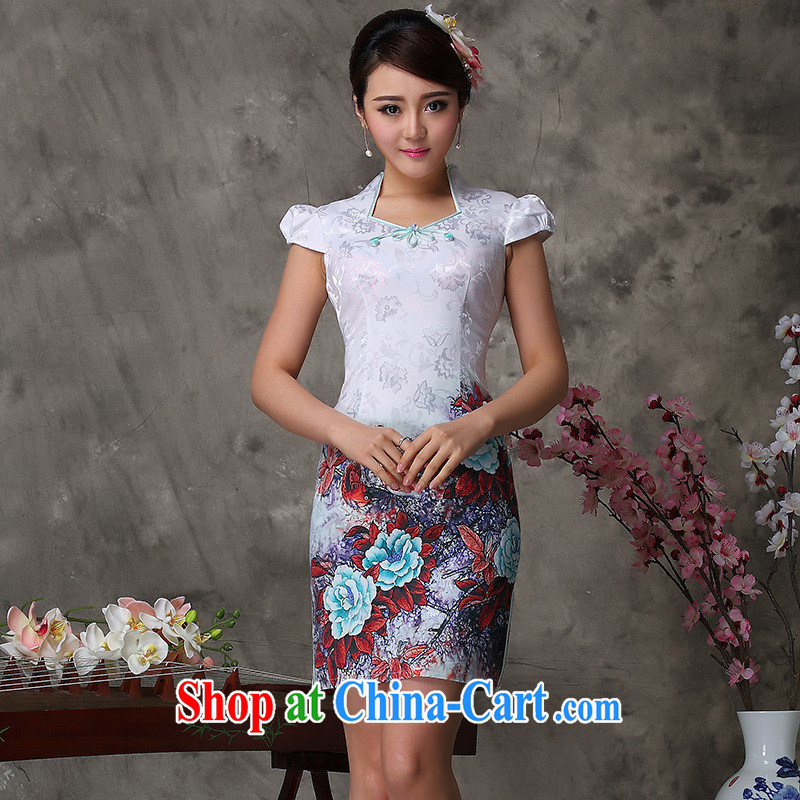 Summer 2014 improved stylish dresses red/green/purple stylish improved cheongsam dress a generation, improved cheongsam green XXL