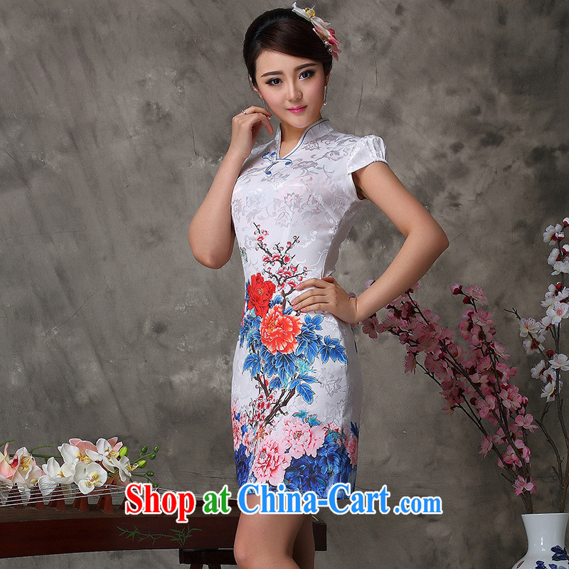 2014 new improved fashion cheongsam dress the stylish take-improved cheongsam dress as regards improved cheongsam dress white XXL