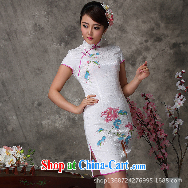 2014 improved beautiful hand painted dresses summer arts hand painted dresses show lady everyday dress cheongsam white XXL