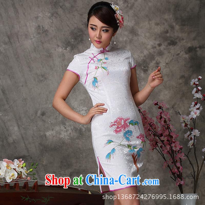 2014 improved beautiful hand painted dresses summer arts hand painted dresses show lady everyday dress cheongsam white XXL