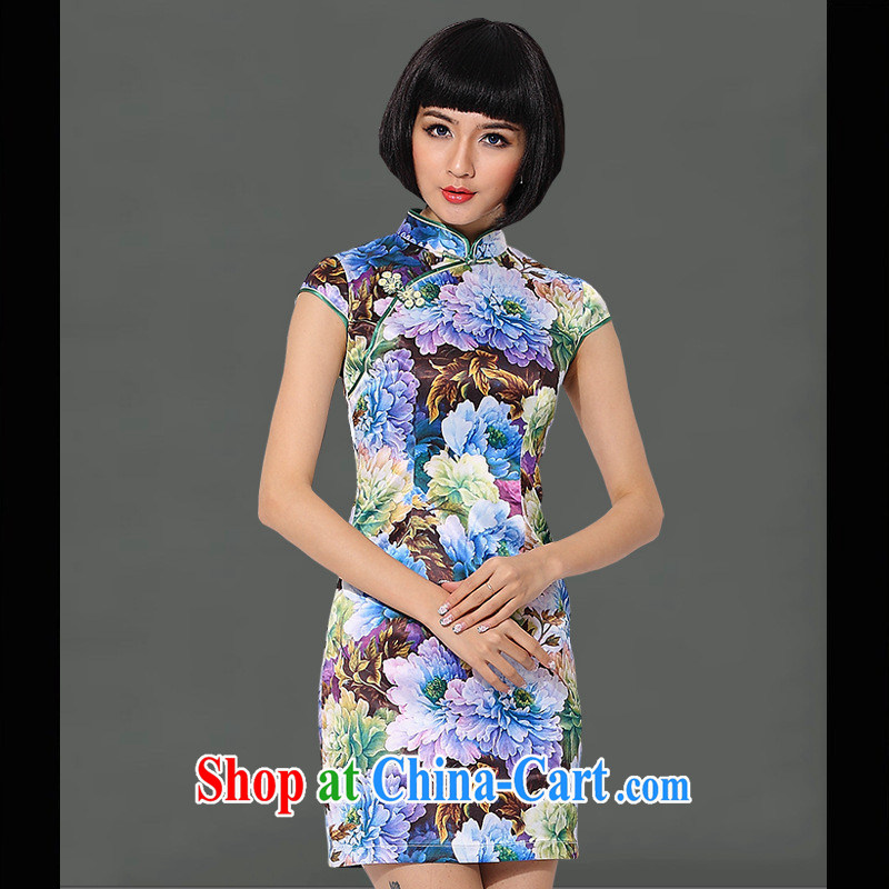 As regards genuine 2014 stylish and refined antique dresses wholesale and retail generation's stylish cultivating improved cheongsam dress blue XXXL