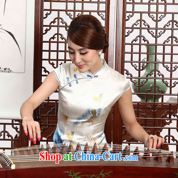 As regards genuine 2014 New Silk retro dresses 8041 #silk daily retro upscale cheongsam dress white XXL