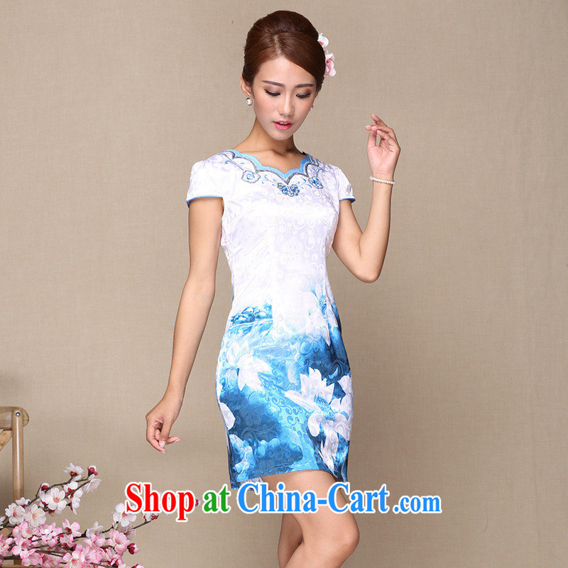 Improved daily cheongsam dress improved stylish summer 2014 new stylish outfit improved picture color XL