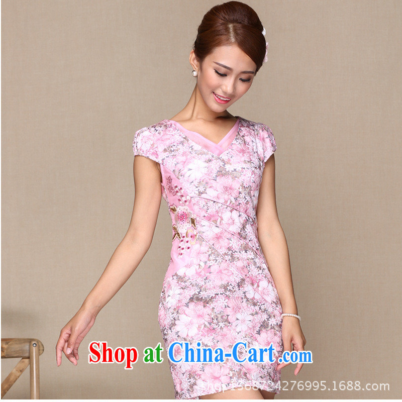 As regards modern improved pink improved cheongsam daily Pink dresses Appointments/banquet pink Improved cluster and pink XL