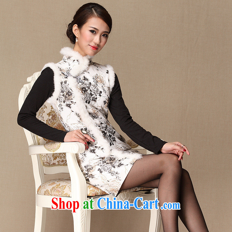 As regards genuine 2014 Spring and Autumn and stylish quilted parquet rabbit hair warm beauty dresses stylish improved cheongsam dress white XXXL