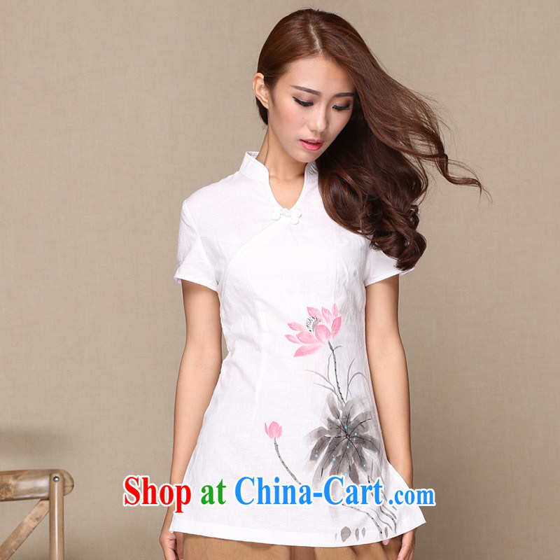 Manufacturers supply new Chinese, Chinese Ethnic Wind women in China's long-sleeved wind linen improved cheongsam yellow XL
