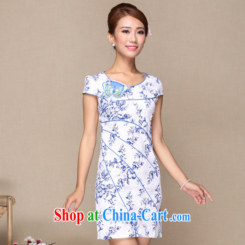 As regards 2014 new stylish improved cheongsam dress daily improved retro cheongsam dress embroidery improved cheongsam picture color XL