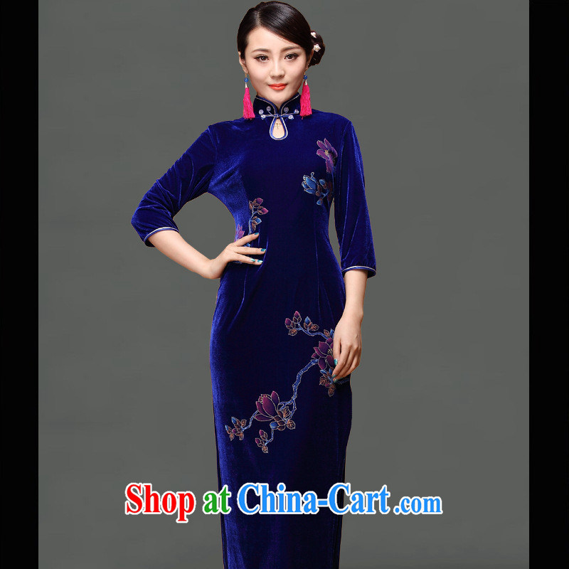 As regards genuine 2014 new upscale gold velour hand-long cheongsam dress retro elegant long dresses blue XXXL