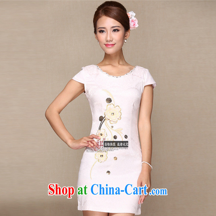 As regards 2014 new stylish improved cheongsam daily improved retro dresses pink embroidery improved cheongsam pale pink XL