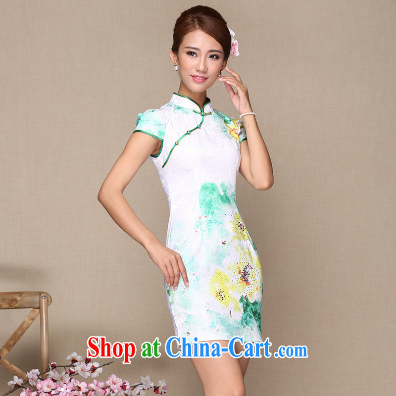 As regards new retro cheongsam dress summer 2014 Stylish retro dresses daily retro fashion cheongsam cheongsam green XXL