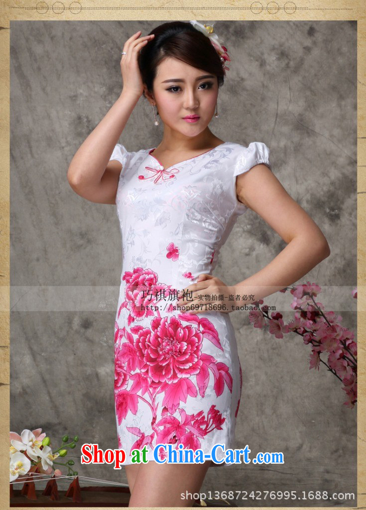 As regards 2014 stylish improved cheongsam cycle will soon smoke Chinese improved cheongsam dress 3-color positioning take improved cheongsam dress blue XXL