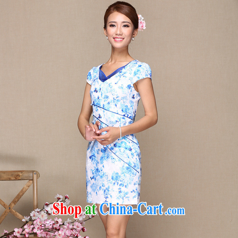 Summer 2014 improved cheongsam dress stylish improved cheongsam dress embroidery antique cheongsam dress cheongsam dress picture color XL