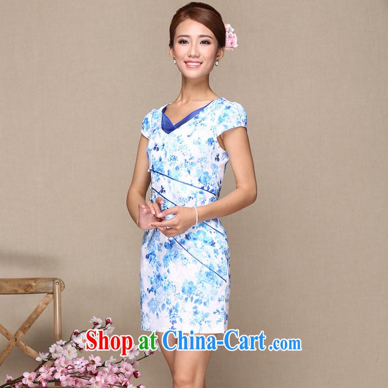 Summer 2014 improved cheongsam dress stylish improved cheongsam dress embroidery antique cheongsam dress cheongsam dress picture color XL