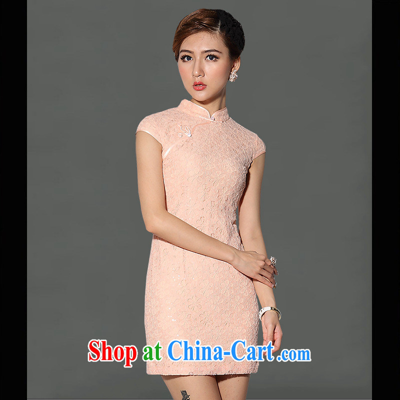 As regards genuine 2014 new white pink short cheongsam dress sense of improved day-cultivating qipao cheongsam dress white XXXL