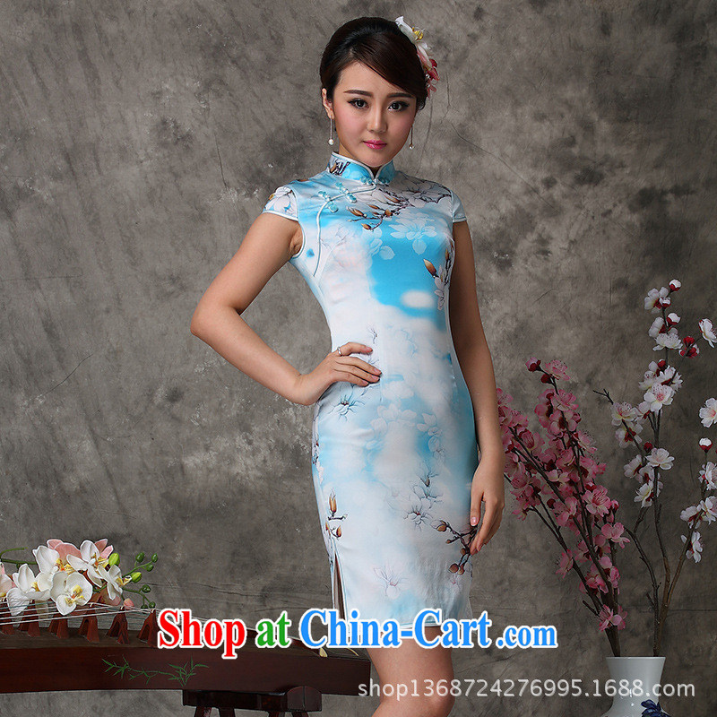 2014 new high quality silk dress as regards cycle will soon smoke silk Chinese qipao dress 8032 Silk Cheongsam picture color XXL