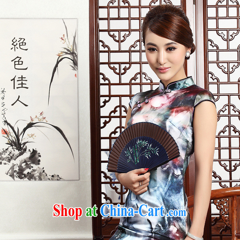 Fall 2014 new, improved Chinese fashion cheongsam Silk Cheongsam dress ethnic wind retro short cheongsam picture color XXL