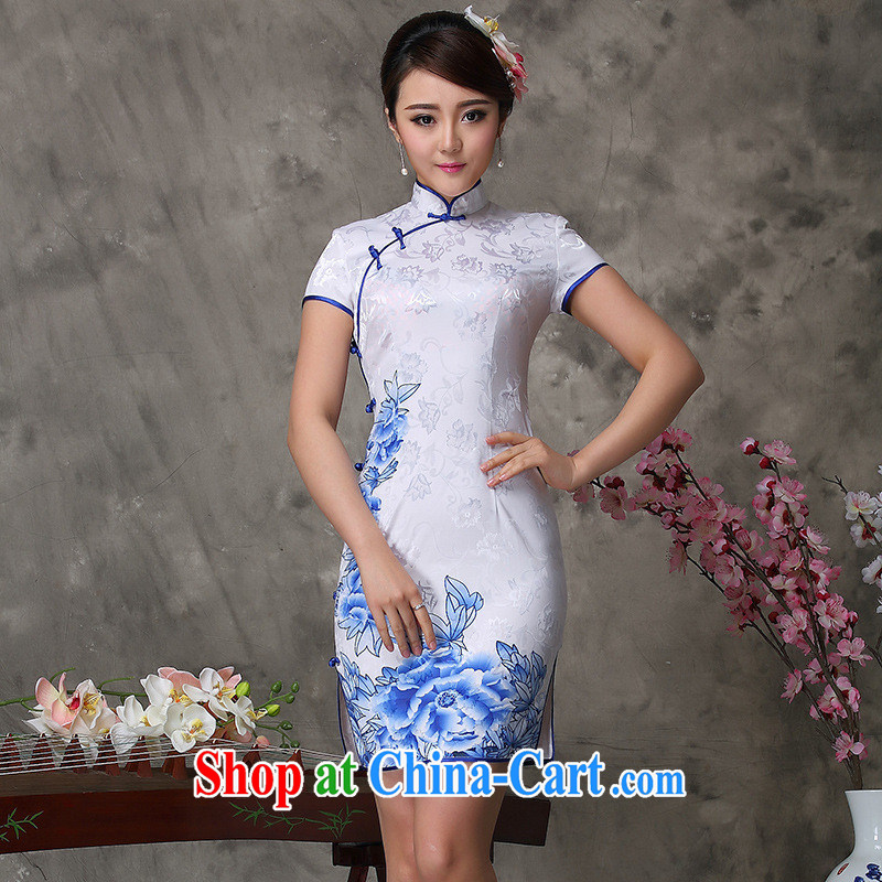 2014 new retro cheongsam dress daily banquet party retro outfit blue and white porcelain antique qipao cheongsam white XXXL