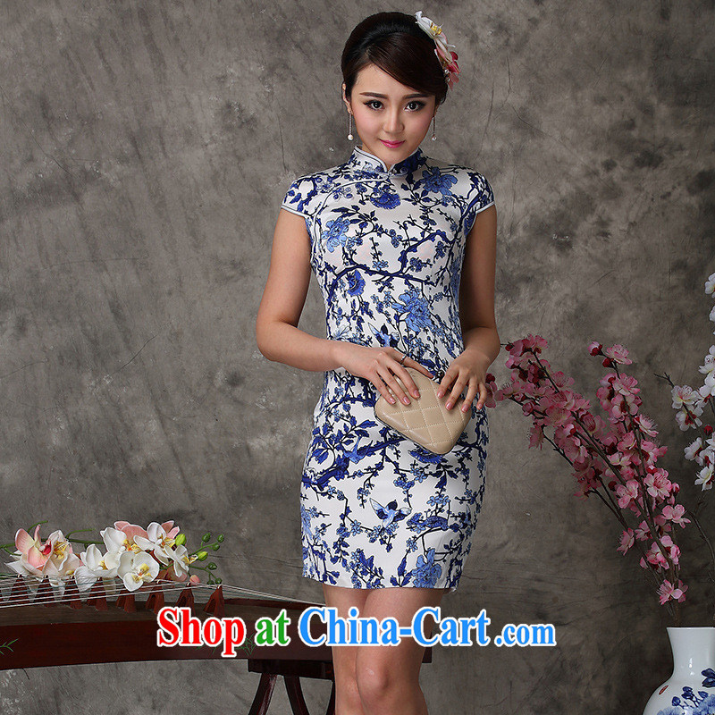 As regards 2014 New Silk Cheongsam dress 8033 silk antique porcelain was cheongsam dress everyday Silk Dresses picture color XXL