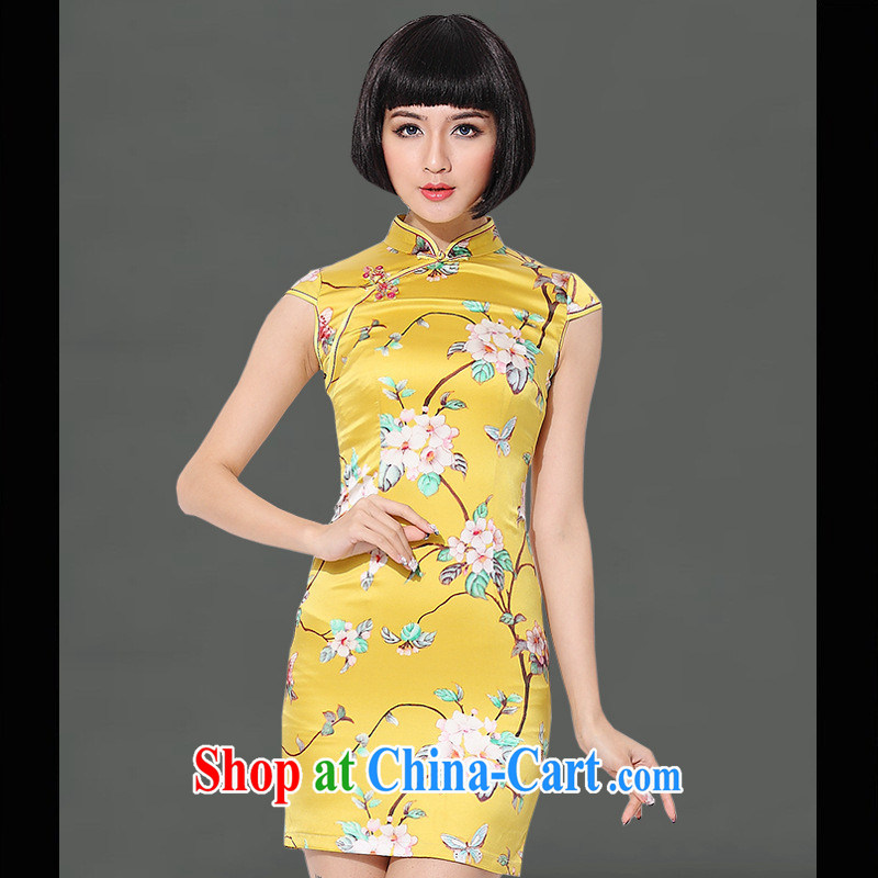 2014 new genuine yellow short silk improved Silk Cheongsam improved quality silk graphics thin dress yellow XXL