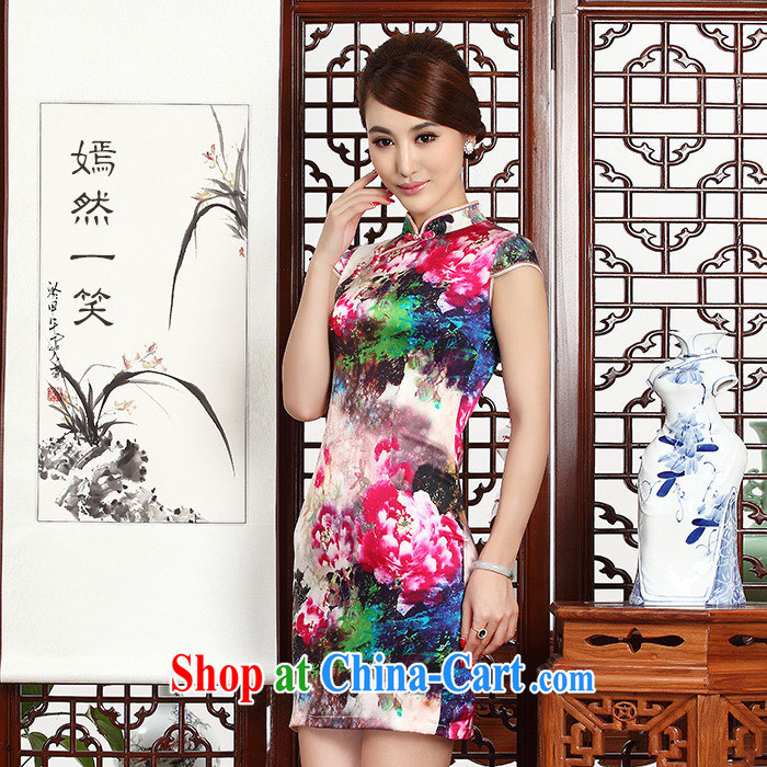 2014 New Silk short cheongsam Stylish retro style graphics thin package and improved daily goods short female summer picture suit XXL