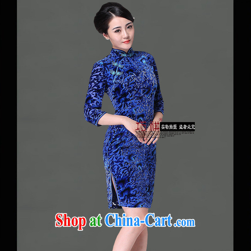 As regards 2014 new black flower cheongsam improved stylish summer_retro wedding dresses upscale Silk Cheongsam blue XXXL