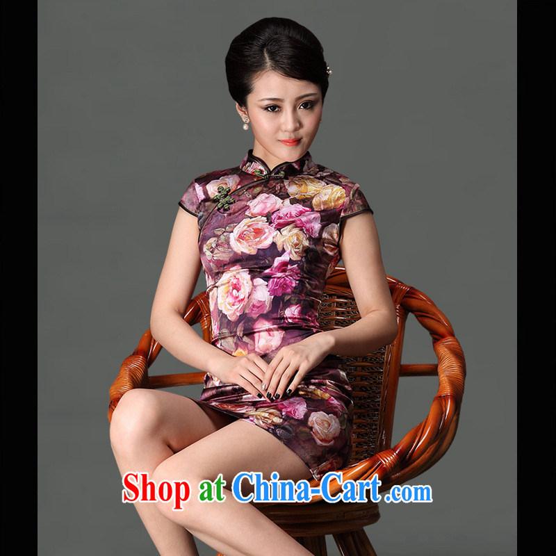 As regards the Summer 2014 spring sauna high silk stylish improved short, Retro cheongsam dress Silk Cheongsam picture color XXXL