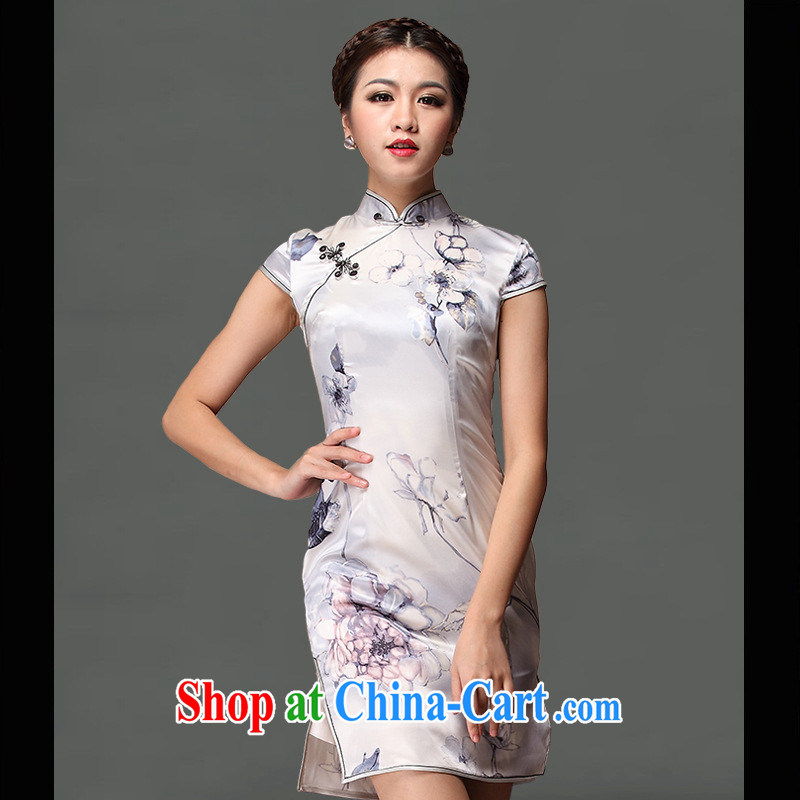 As regards genuine 2013 classic Mrs Jurchen Silk Cheongsam retro elegant Solid Color skirt outfit Daily National Service outfit picture color XXXL