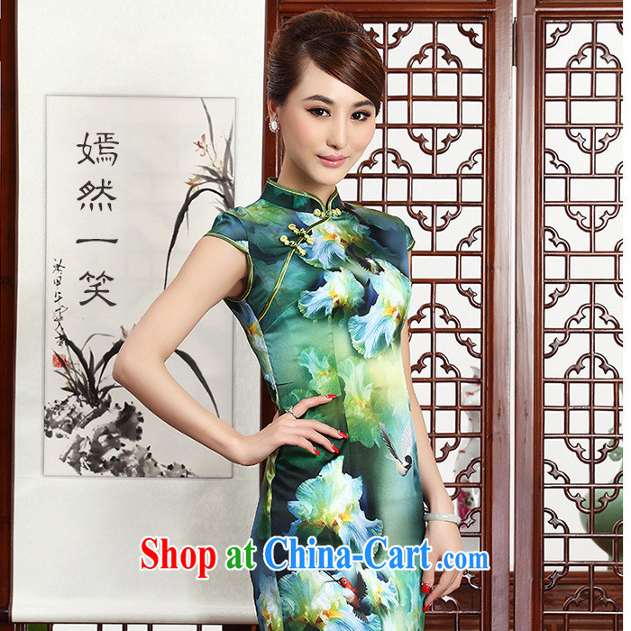 As regards 2014 autumn Silk Dresses dresses retro silk dress 8042 silk stylish retro dresses picture suit XXL