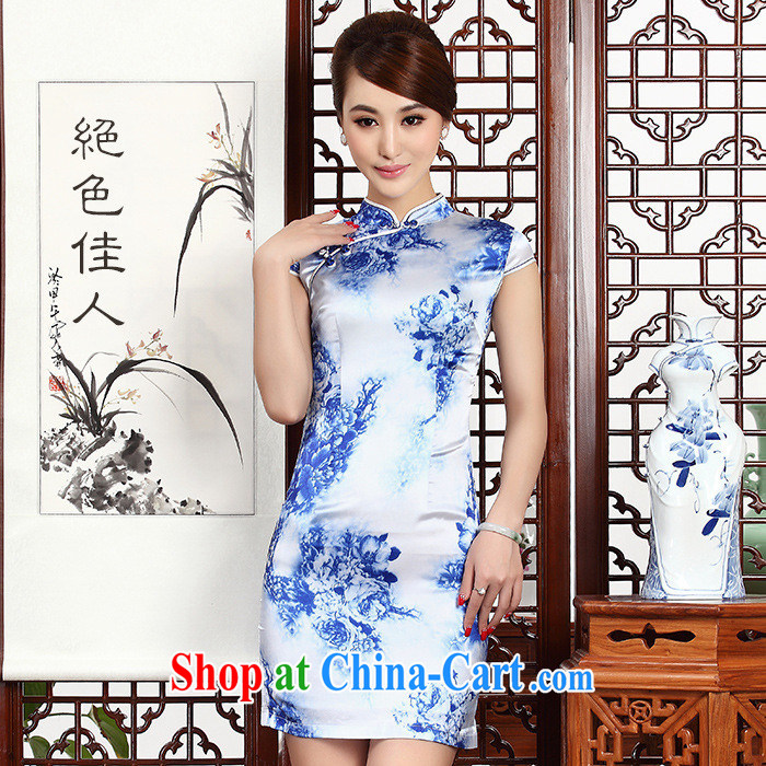 As regards 2014 new blue and white porcelain antique Silk Dresses dresses retro silk banquet 8045 #qipao Cheong Wa Dae porcelain XXL