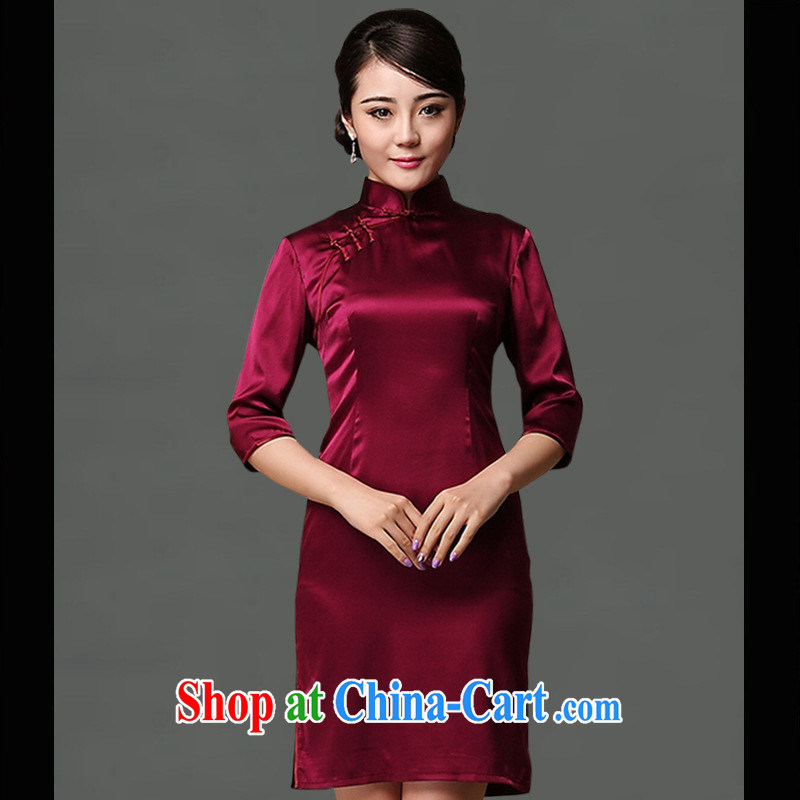 As regards new pre-sales fall 2014 with Silk Cheongsam sauna silk Ethnic Wind solid color sleeves, Silk Cheongsam maroon XXL