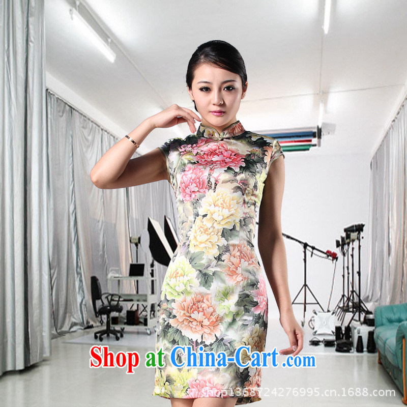 As regards Peony Pavilion heavy Silk Cheongsam_2014 exclusive videos cheongsam dress retro improved silk 8841 photo color XXXL