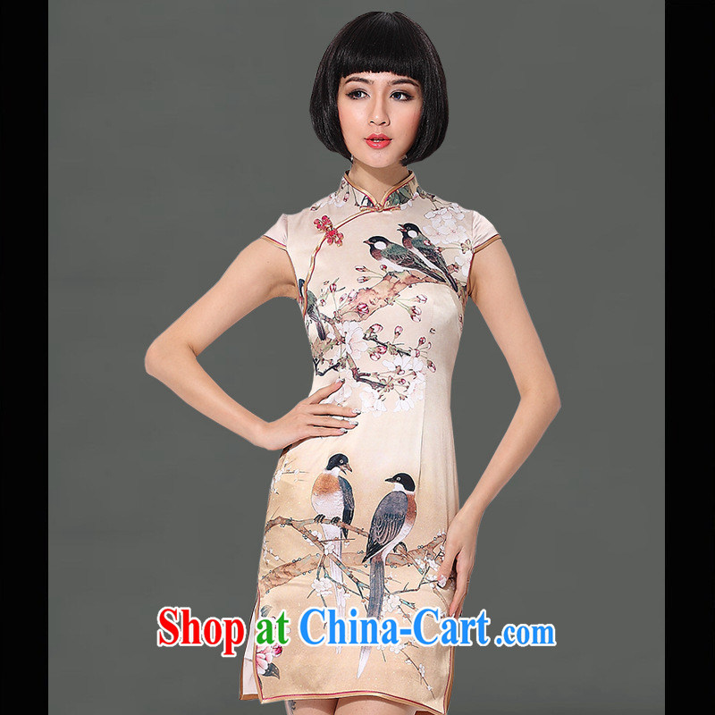 As regards 2014 new spring and summer short, heavy Silk Cheongsam sauna silk dress heavy Silk Cheongsam dress picture color XXL
