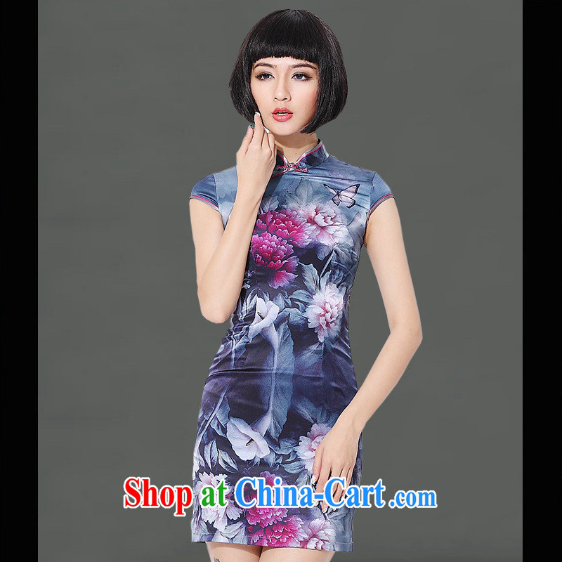 2014 as regards new retro elegant cheongsam dress 8005 high quality Silk Cheongsam daily Quality Assurance blue XL