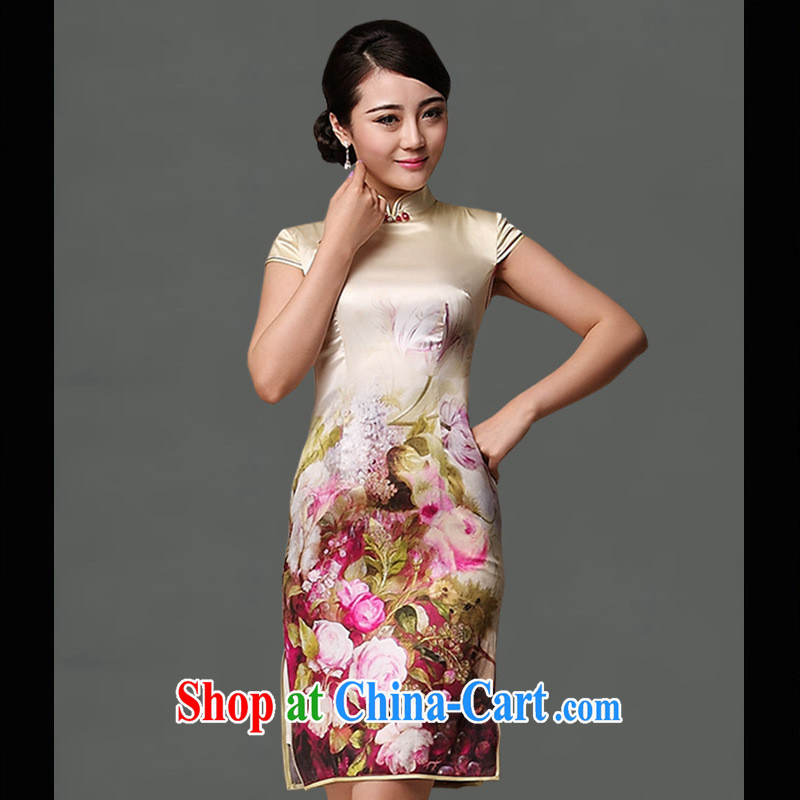 As regards a genuine 2014 summer upscale Silk Cheongsam positioning take short-sleeved short retro dresses cheongsam dress picture color XXL